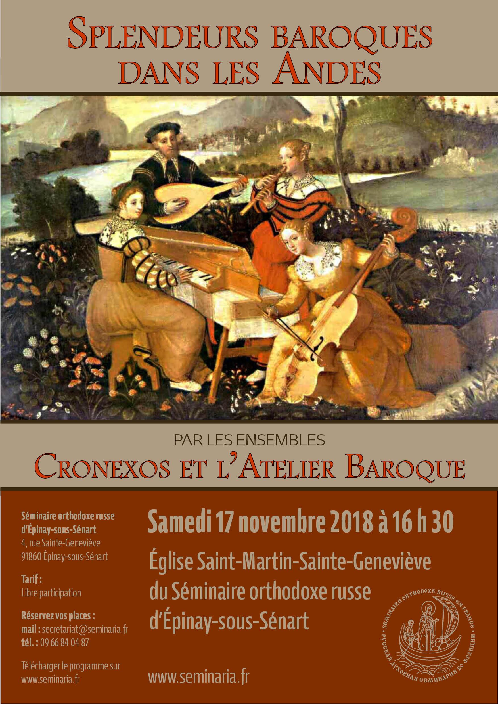 CONCERT: Splendeurs baroques dans les Andes par les ensembles Cronexos et l'Atelier Baroque: Samedi 17 novembre à 16 h 30 au Séminaire