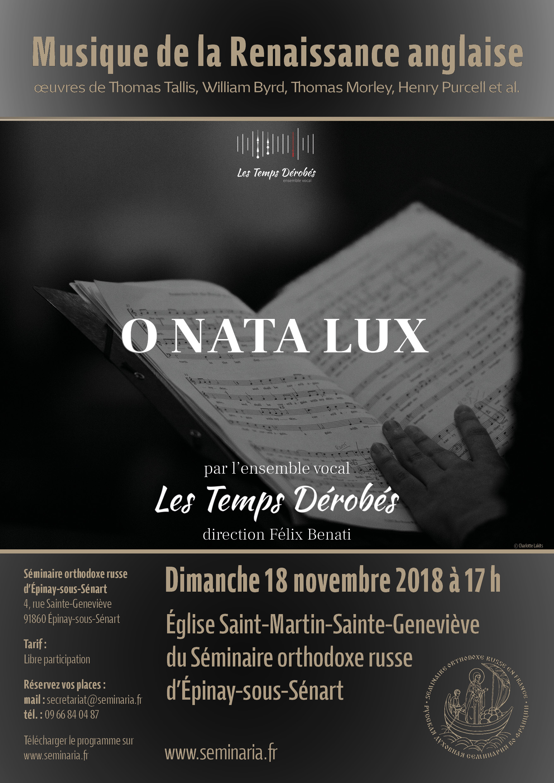 CONCERT: Musique de la Renaissance anglaise par l'ensemble Les Temps Dérobés: Dimanche 18 novembre à 17 h au Séminaire
